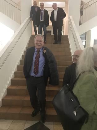 Gemeinderat Stephan Wittwer mit Toni Felber und Roger Bleuler im Hintergrund