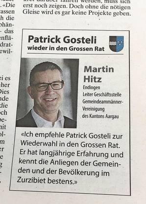 Martin Hitz ist in der Parteileitung der Zurzibieter CVP – und empfiehlt Patrick Gosteli.