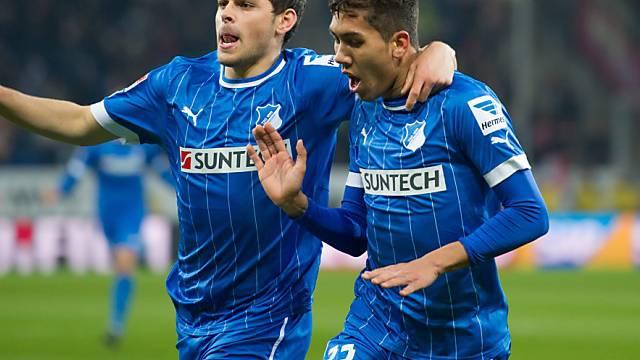 Roberto Firmino (r.) brachte Hoffenheim nach 10 Minuten in Führung.