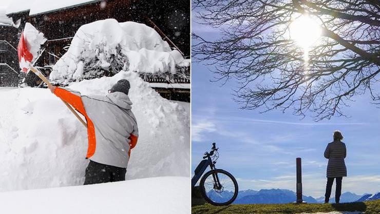 Links das verschneite Bellwald am 21.Januar, rechts die Anhöhe St. Anton am 24.Januar bei strahlender Sonne.