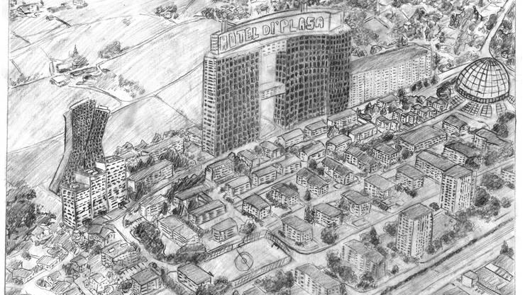 im Rahmen der Wohntage zeichneten Grenchner Schulkinder, wie sie sich die Stadt im Jahr 2065 vorstellen