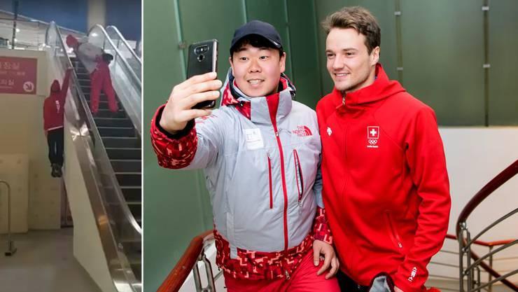 Verrückt: Nach seinem Video, mit dem er Berühmtheit erlangte, ist der Aargauer Olympiateilnehmer Fabian Bösch ein gefragter Mann als Selfie-Partner