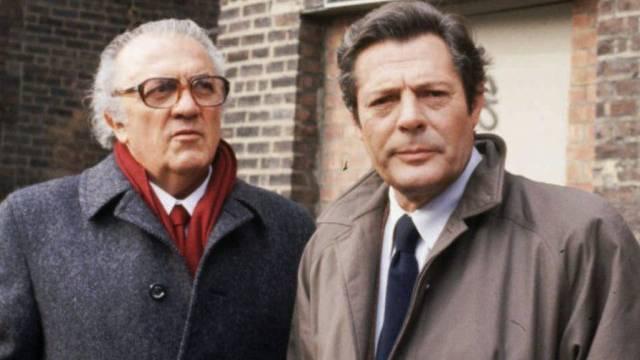 Marcello Mastroianni 1996 mit Federico Fellini