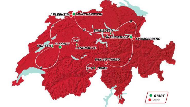 Das sind die neun Etappen der Tour de Suisse 2019 (15. bis 23. Juni).