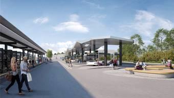 So soll der Bahnhofplatz Wohlen samt Bushof und unterirdischer Tiefgarage ab Anfang 2021 aussehen. (Visualisierung)