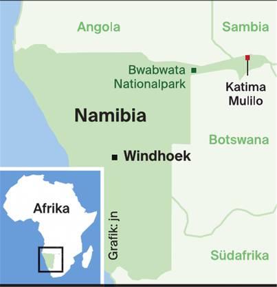 Der Nationalpark Bwabwata befindet sich im Caprivizipfel Namibias, ganz im Nordosten.