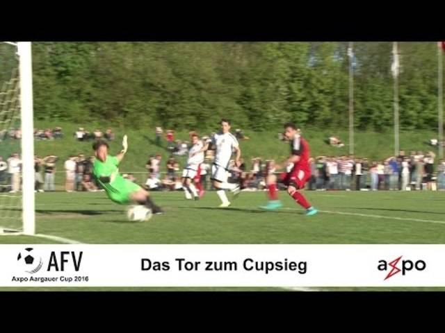Das Siegtor im Aargauer Cupfinal 2016: Tasar Varol Salman erzielt in der 92. Minute das entscheidende Tor zum Cupsieg für den FC Klingnau