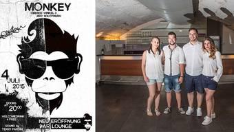 Ein Affe mit Elvislocke steht Modell für die neue Bar Monkey. Betrieben wird sie von Kim Buchser, Alex Moser, Cem Sönmez und Nicole Ducommun.