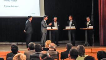 Podiumsdiskussion mit (v.l.) Heinz Nater, Martin A. Bopp, Albert Sigrist, Herbert Mäder und Peter Andres. to