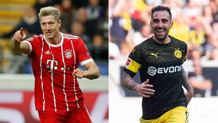 Das Duell zwischen Bayern und Dortmund ist auch das Duell der beiden Torjäger Robert Lewandowski (links) und Paco Alcácer.
