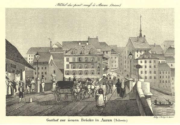 Die Kettenbrücke auf einer Lithographie von J. Bellinger um 1855.