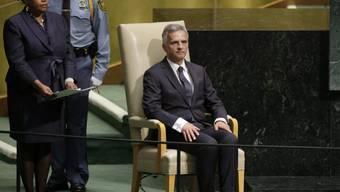 Didier Burkhalter vor seiner Rede zur UNO-Vollversammlung