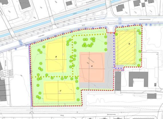 Gestaltungsplan des Lindenpark: In der ersten Etappe werden die Gruppengebäude B und C sowie das Mehrzweckgebäude A und der Parkplatz D realisiert.