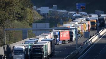 Lastwagen blockieren die Grenze zwischen Frankreich und Spanien. Lastwagenfahrer sollen in Zukunft in der ganzen EU gleiche Löhne erhalten.  (Foto: Bob Edme/AP)