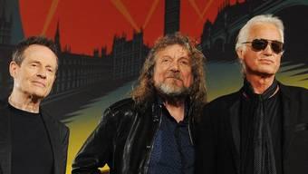 """Die verbliebenen """"LedZep""""-Mitglieder: John Paul Jones, Robert Plant und Jimmy Page (v. l.)"""