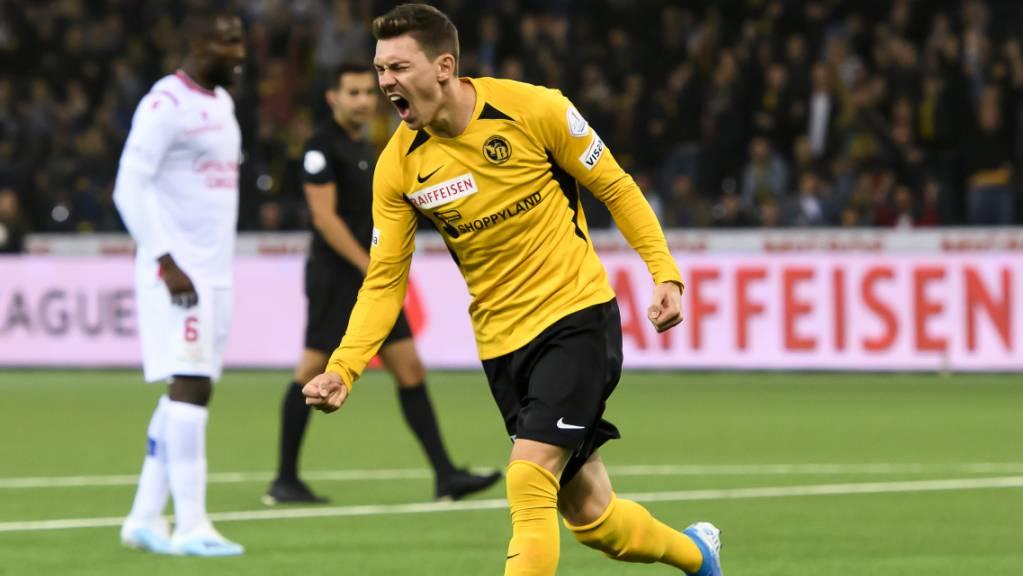 Christian Fassnacht schoss YB im Europa-League-Heimspiel gegen die Glasgow Rangers mit seinem späten Tor in der Nachspielzeit zum 2:1-Sieg