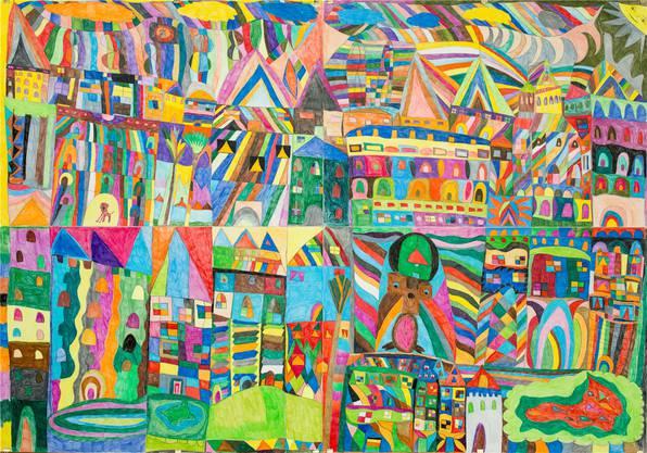 Sie malt in bunten Farben und ornamental verschränkt die Welt besser (Ausschnitt).