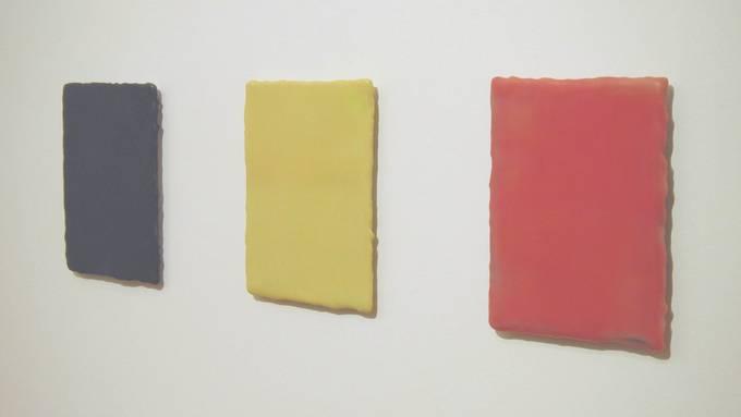 Die Bildtafeln bestehen aus Wachs und Farbpigmenten.