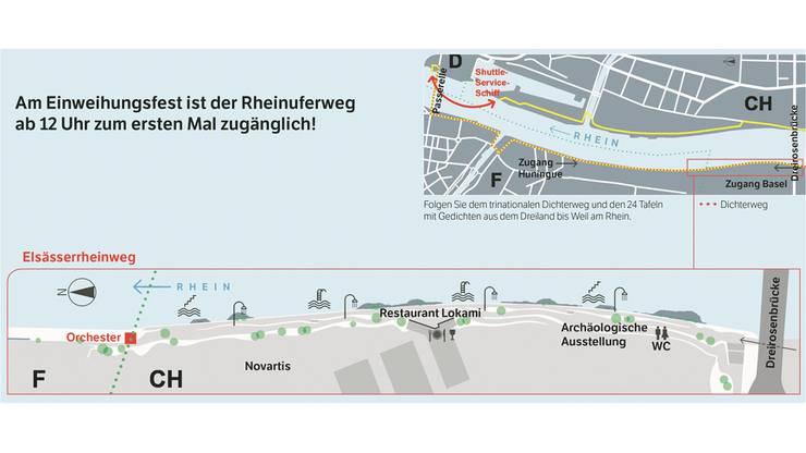 Bis Montagmorgen um 7 Uhr kann man die Promenade bis ins Elsass entdecken. Der Basler Teil hingegen ist immer geöffnet.
