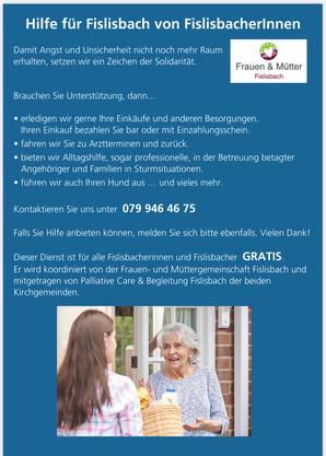 Fislisbacher lassen Fislisbacher nicht alleine- grosser Zuspruch beim Hilfsangebot des Frauenvereins