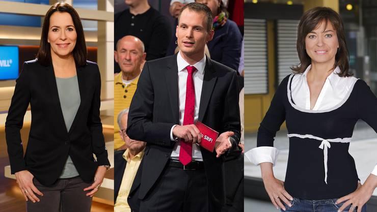 Anne Will (ARD), Jonas Projer (SRF, «Arena») und Maybrit Illner (ZDF): In Deutschland wird häufiger über Politik berichtet als in der Schweiz.