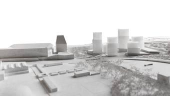 Das Hagnau-Areal an der Grenze soll mit Hochhäusern (fünf transparente Türme rechts) überbaut werden – zum Ärger der Anwohner (Quartier am rechten Bildrand).
