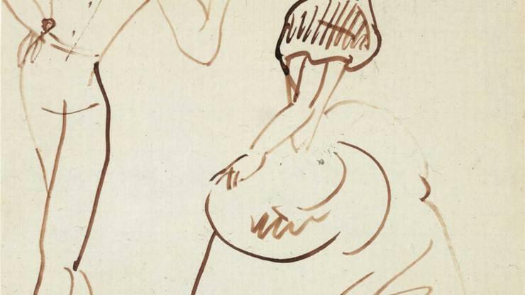 Arlequin et Colombine, 1905, Feder mit brauner Tinte, Kupferstichkabinett. MARTIN P. BÜHLER / KUNSTMUSEUM BASEL