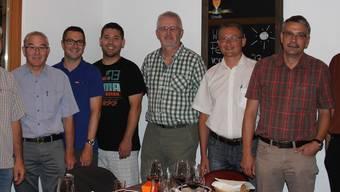 Der aktuelle RFS Thal (v.l.) bei der Verabschiedung von Stephan Berger (3. v.r.): Urs Meier, Anton Wüthrich, Daniel Peter, Michael Bader, Charly Hammer, Stefan Schneider, Markus Schindelholz.