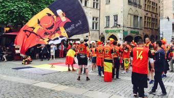 Euphorisch: Fans der «roten Teufel» in der Innenstadt von Lyon. Cfe