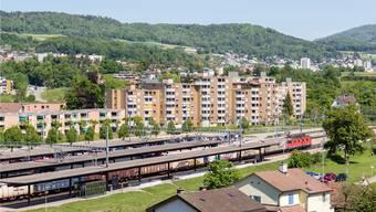 Blick auf das Bahnhofsareal in Turgi. Archiv