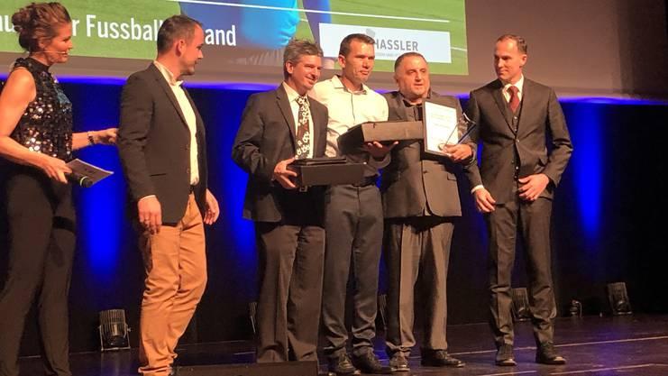 Die drei nominierten Schiedsrichter: Geiger, Morina und Oezmen (von l. nach r.).