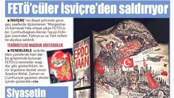 """""""Fethullah-Terroristen greifen aus der Schweiz an"""" titelt die türkische Zeitung Yeni Akit."""