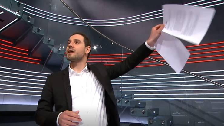 GSoA-Sekretär Lewin Lempert in der Sendung «Arena» auf SRF.