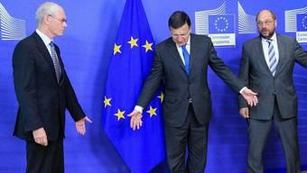Herman Van Rompuy, José Manuel Barroso und Martin Schulz (v. l. n. r.) (Archiv)