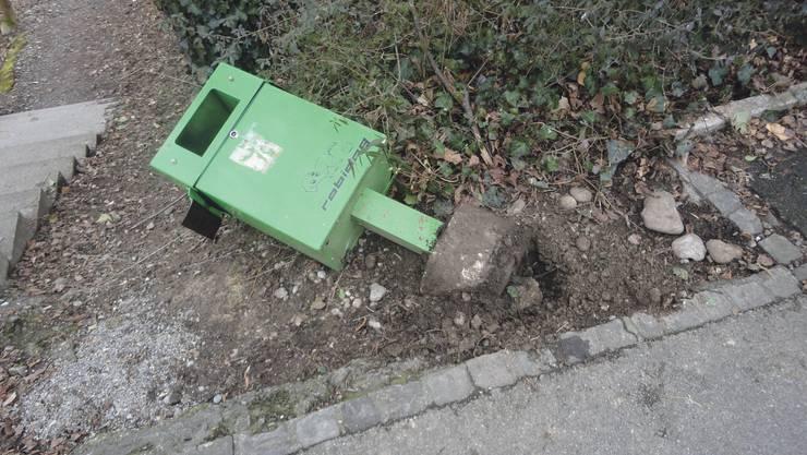 Robidog-Behälter an der Rebackerstrasse
