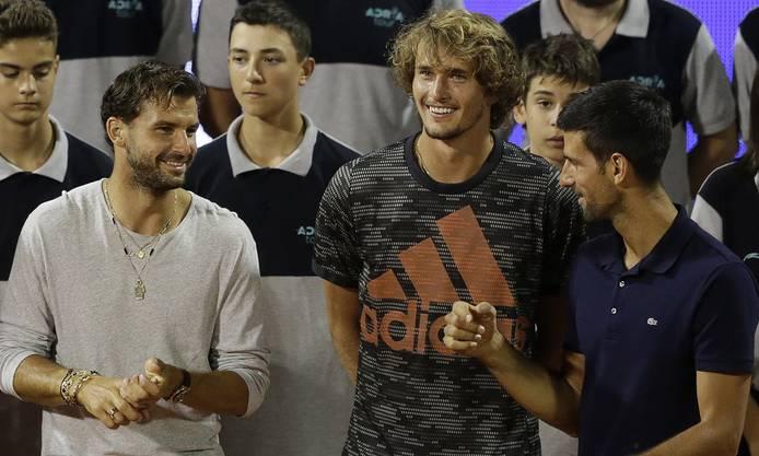 Alexander Zverev bei der Adria-Tour mit den inzwischen positiv auf das Coronavirus getesteten Grigor Dimitrov (l.) und Novak Djokovic (r.).