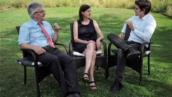 v.l. Baselbieter SVP-Präsident Oskar Kämpfer, Baselbieter FDP-Präsidentin Christine Frey und Baselbieter CVP-Präsident Marc Scherrer.