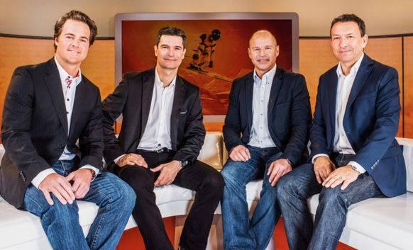 Berthod, Hofmänner, Girardelli und Kern – das SRF-Kommentatoren-Team bei den Männer-Rennen.
