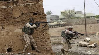 Irakische Soldaten im Einsatz in einem Dorf ausserhalb von Mossul. In der Stadt selbst umzingeln Elite-Einheiten das Universitäts-Viertel. (Archiv)