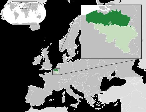 Flandern (grün eingefärbt) ist der nördliche, niederländisch-sprechende Teil Belgiens.