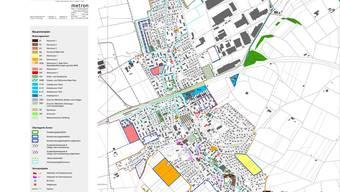 Umstrittene Einzonung: Drei Stücke Land, die der Gemeinde gehören, sollen in Möhlin eingezont werden: In der Breiti (rot markiert), im Gebiet Eselacher (orange markiert) und Leigruebe (gelb markiert). (zvg)