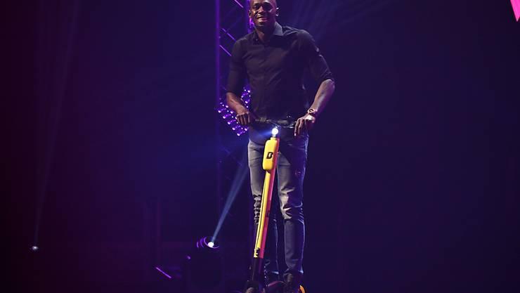 """Der frühere Sprint-Superstar Usain Bolt darf seine elektrischen Tretroller in Paris nicht nach seinem Namen benennen. Jetzt tritt er dort mit """"+B+"""" auf. (Archivbild)"""
