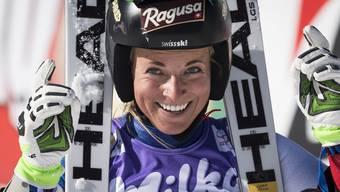 Hatte Grund zum Lachen: Lara Gut freut sich über Platz 4.