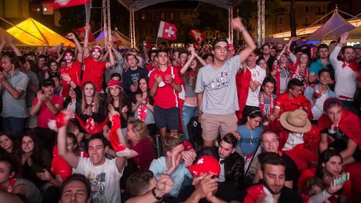 Gemeinsam die Schweizer Nati anfeuern, das ist in der WM-Arena in Brugg möglich. Im Bild Fans von der Euro 2008 in Lugano.