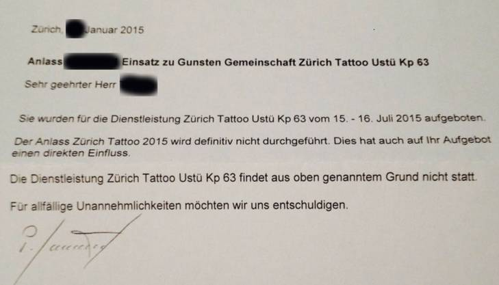 Absage des Anlasses bedeutet Absage des Zivilschutzeinsatzes für das «Zurich Tattoo»-Festival.