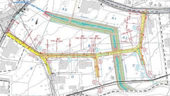 Der Hägibach soll um- und offengelegt werden (blau). An den Kosten für dieErschliessungsstrasse (gelb) müssen sich die Grundeigentümer beteiligen.ZVG