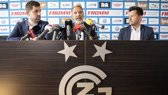CEO Manuel Huber, Trainer Thorsten Fink und Sportchef Mathias Walther (v. l.): Dem Trio wünscht man, dass es vom Machtkampf hinter den GC-Kulissen nicht erdrückt wird