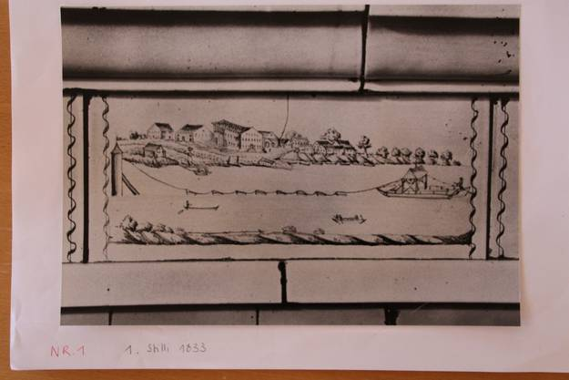 Eine Zeichnung aus dem Jahre 1833 mit der Fähre