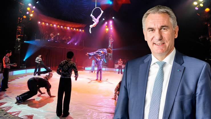 Alex Hürzeler sagt, mit dem Circus Nock gehe dem Fricktal und dem Aargau ein Stück Tradition verloren. (Montage)
