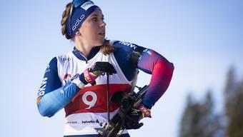 Lena Häcki - hier beim Training in Lenzerheide - blickt der WM-Saison zuversichtlich entgegen.